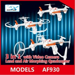 2.4G Quadcopter with Camera,  Air Fun AF930 UFO 3 in 1 Land and Air Morphing