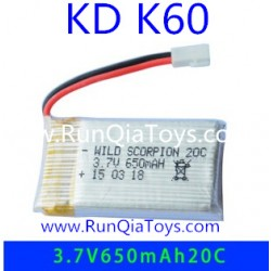Kai Deng K60 Quadcopter parts, Lipo Battery 650mAh, Kaideng KD K60C RC Drone