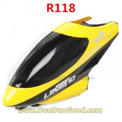RunQia Toys R118 Helicopter Parts, Head Cover Yellow, Cannopy, Run Qia NO.R118 remote control heli Accessories